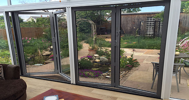 Pleated retractable fly screen doors for modern bi fold doors for Bi fold screen doors